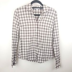 Womens James Perse Plaid Button Up Blouse Top